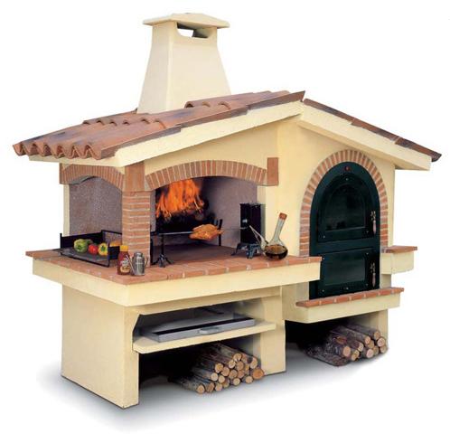 Barbecue a legna da giardino per esterno in pietra a - Barbecue da giardino a legna ...