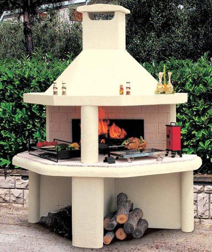 Barbecue a legna da giardino per esterno in pietra a carbonella imola modena bologna - Caminetti per esterno ...