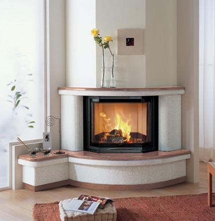 Interno caminetto ad angolo tondo a legna a pellet for Caminetto ad angolo contemporaneo